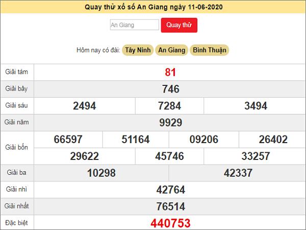 Quay thử kết quả xổ số miền Nam An Giang ngày 11/6/2020 thứ 5